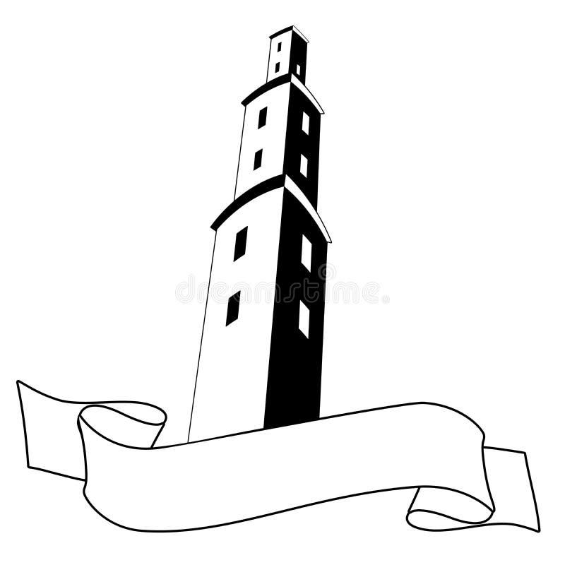 塔标签或品牌 建筑建筑和文本横幅,隔绝在白色背景 图库摄影