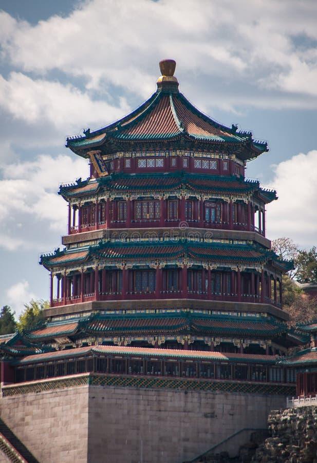 塔样式颐和园Closesup在北京,中国 免版税图库摄影