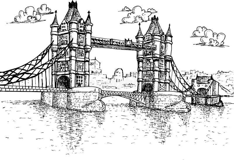 塔桥梁在手拉的伦敦 皇族释放例证