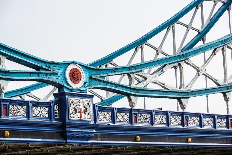塔桥梁细节在泰晤士河,伦敦,英国的 免版税库存照片