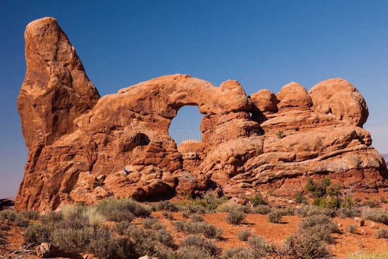 塔楼曲拱岩石峡谷拱门国家公园默阿布犹他 免版税库存照片