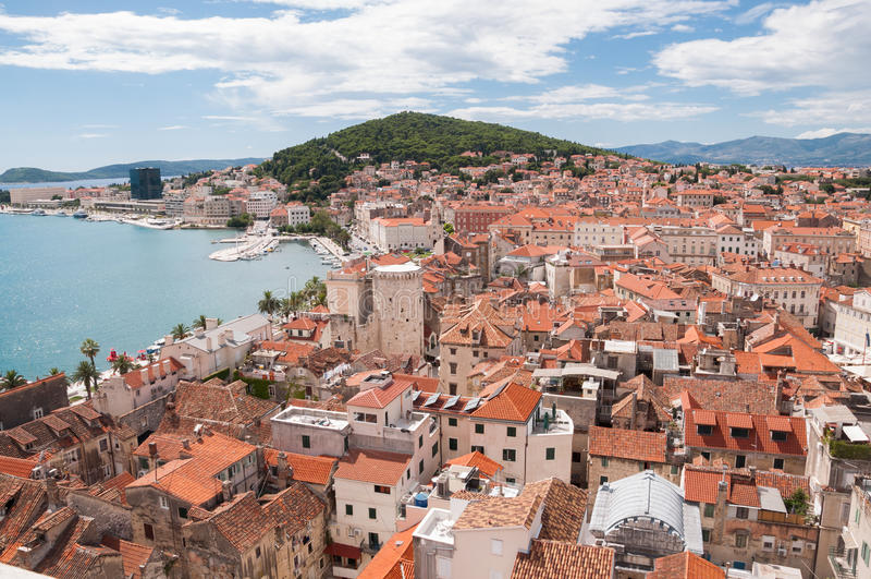 从塔的看法在Diocletian的宫殿,分裂,克罗地亚 免版税图库摄影