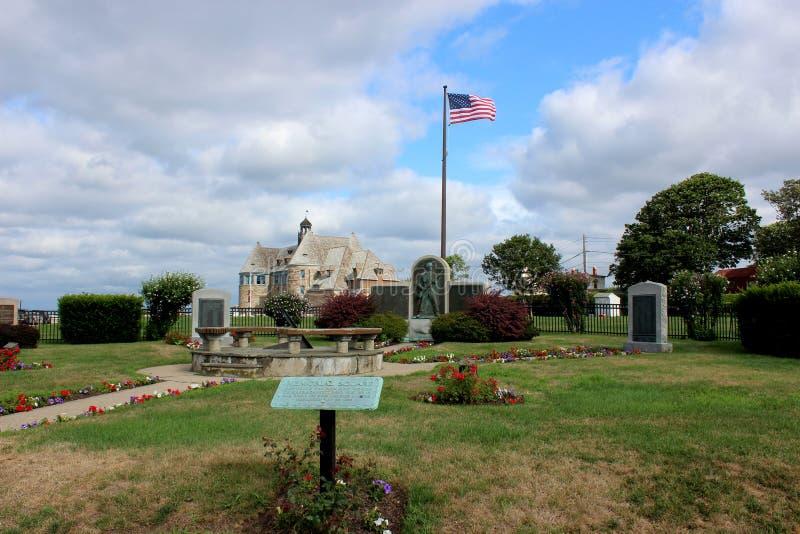 塔的看法,沿岸的一个历史建筑,Narragansett,罗德岛,2018年 免版税库存图片