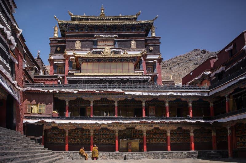 塔石Lhunpo修道院庭院 库存照片