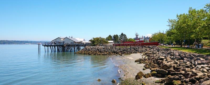 塔科马,码头江边 Ruston方式 免版税库存照片