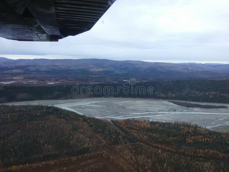塔纳岛河由healy湖的阿拉斯加关闭 免版税图库摄影