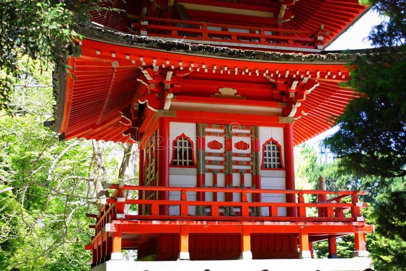 塔细节在日本茶园,金门公园,旧金山里 图库摄影