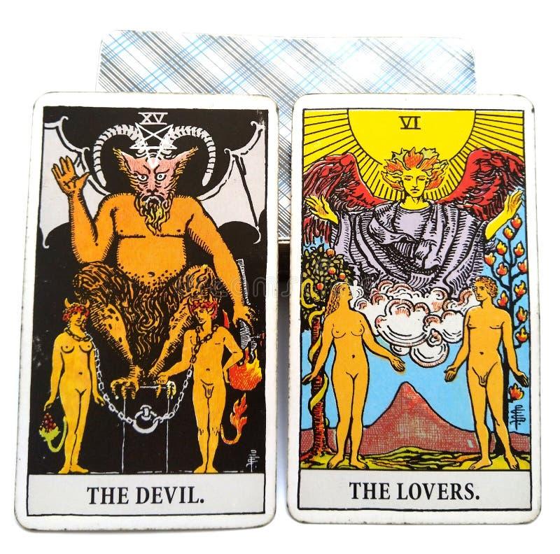塔罗牌诞生卡片恶魔/恋人 向量例证