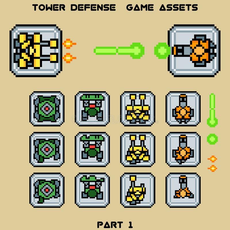 塔防御比赛财产第1部分 向量例证