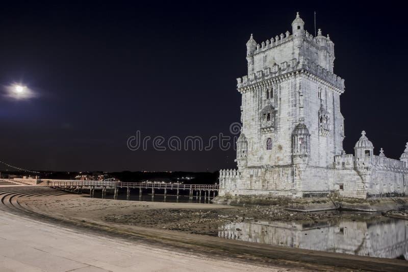塔霍河的贝伦塔在里斯本,照片拍在蓝色小时在葡萄牙 被定调子的成为不饱和的图象 免版税库存照片