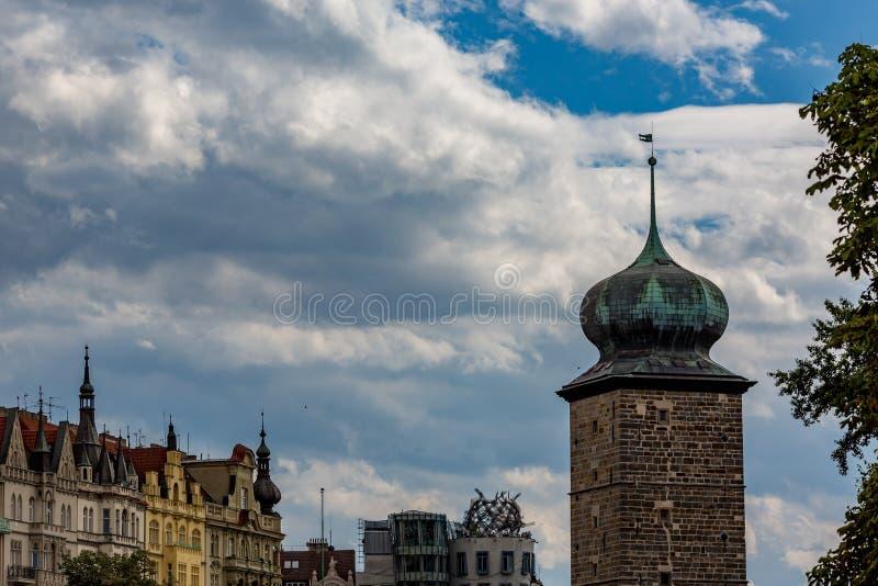 塔,布拉格的艺术性的建筑细节 免版税库存图片