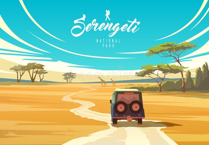 塞伦盖蒂国立公园 坦桑尼亚的本质 大草原 库存例证