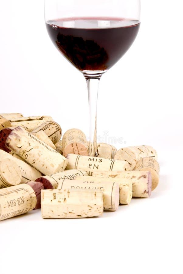 塞住玻璃红葡萄酒 免版税库存照片
