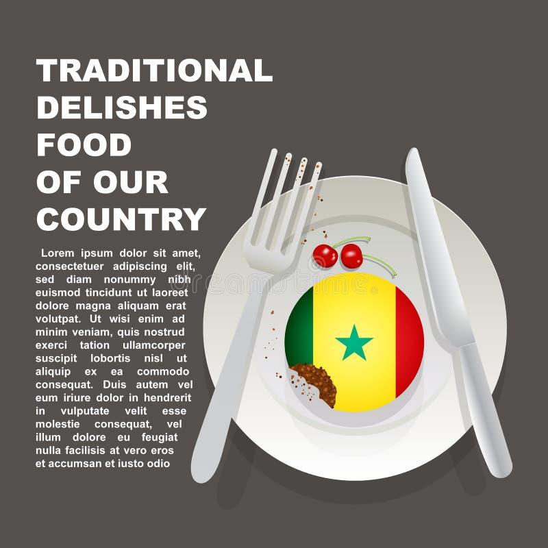 塞内加尔国家海报传统可口食物  非洲全国点心 传染媒介与参议员国旗的例证蛋糕  库存例证