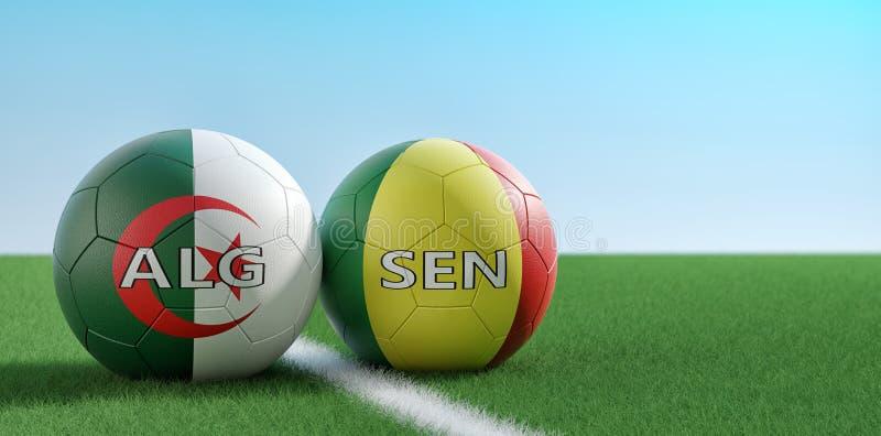 塞内加尔对 阿尔及利亚足球比赛-足球在塞内加尔和在足球场的阿尔及利亚的全国颜色 皇族释放例证