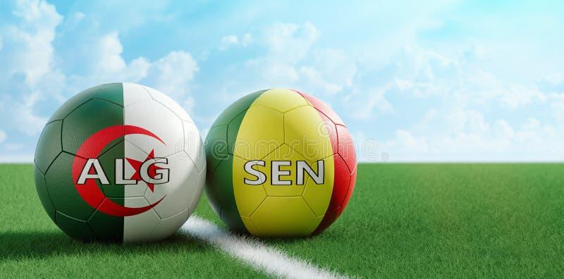 塞内加尔对 阿尔及利亚足球比赛-足球在塞内加尔和在足球场的阿尔及利亚的全国颜色 库存例证