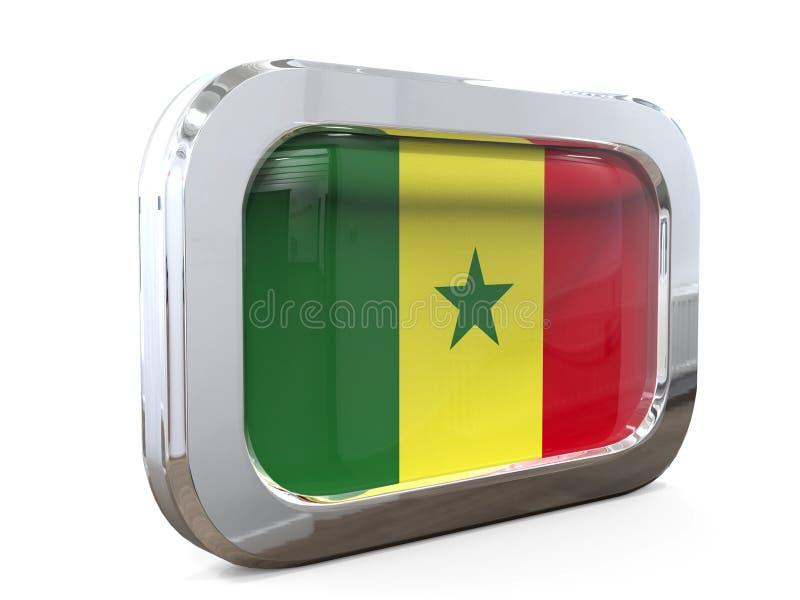 塞内加尔按钮旗子3D例证 库存例证