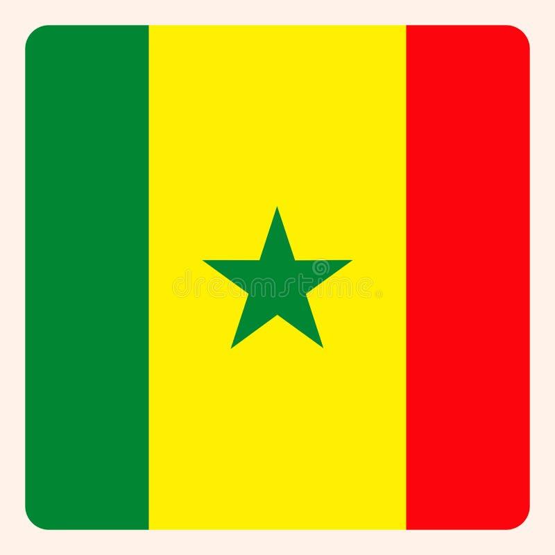塞内加尔摆正旗子按钮,社会媒介通信标志 向量例证