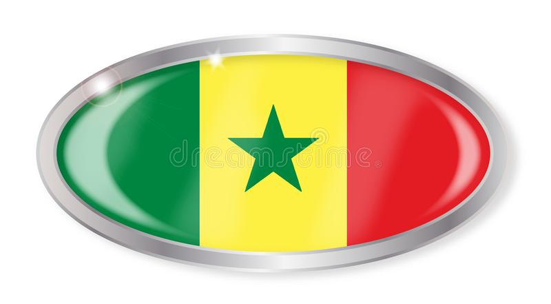塞内加尔旗子长圆形按钮 向量例证