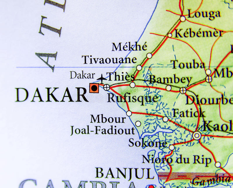 塞内加尔的地理地图有首都的达喀尔 免版税库存照片