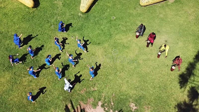 塞内加尔舞蹈鸟瞰图在智利 库存照片