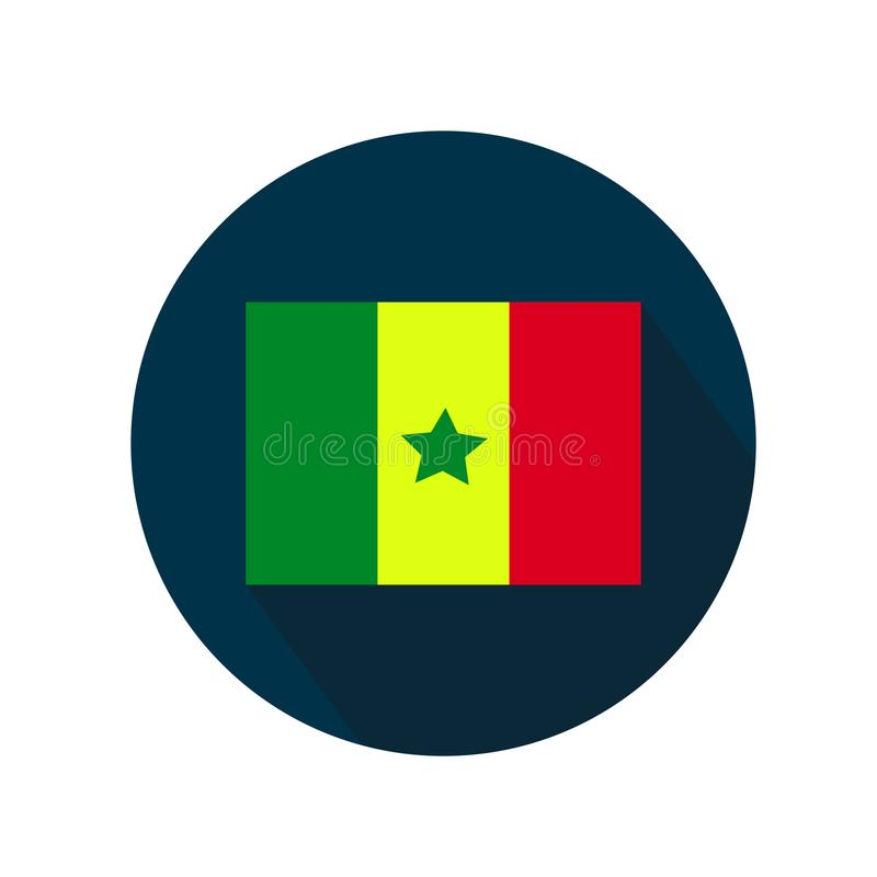塞内加尔象旗子在白色背景的 在蓝色圈子的旗子与长的阴影 库存例证