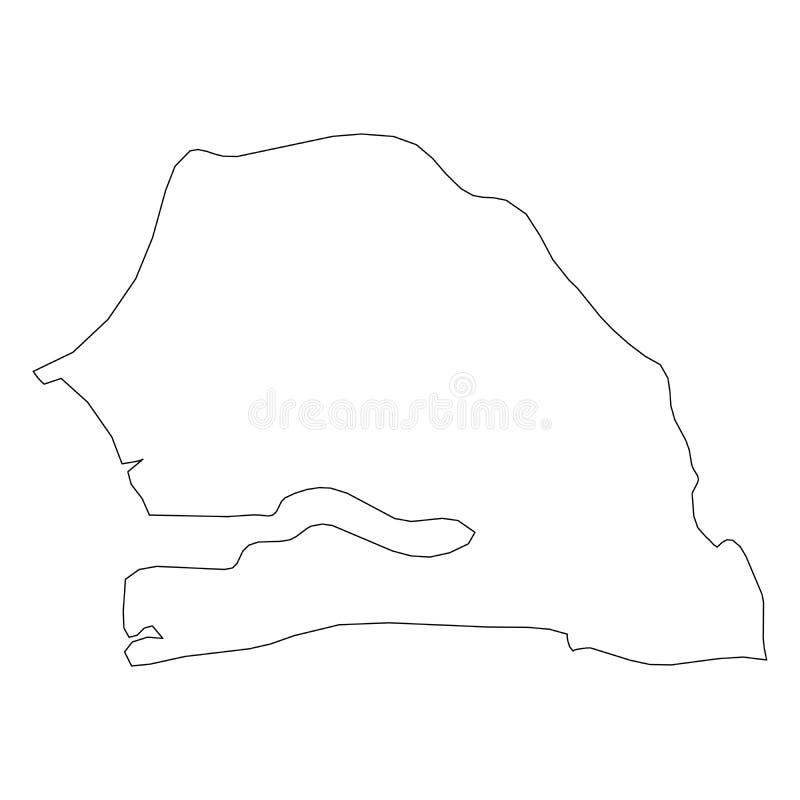 塞内加尔-国家区域坚实黑概述边界地图  简单的平的传染媒介例证 库存例证