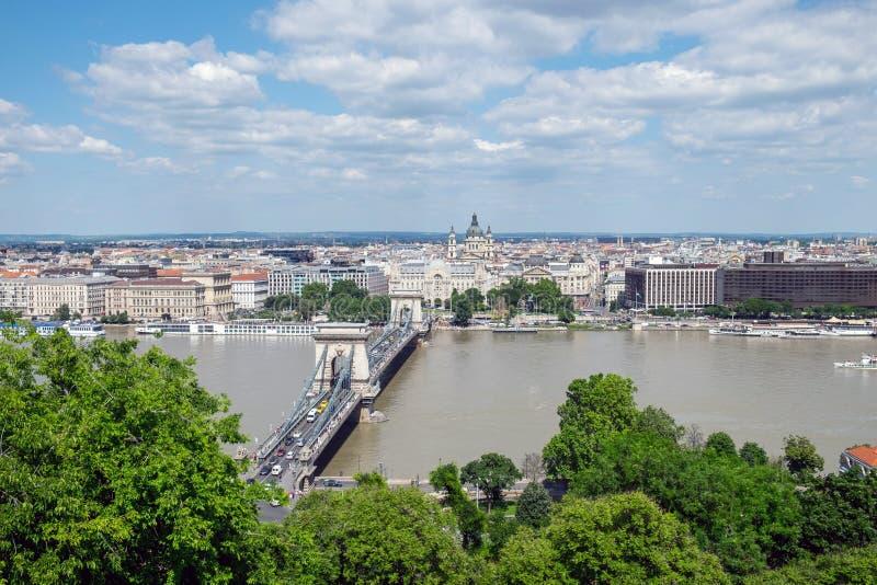 塞切尼链桥,布达佩斯,匈牙利的看法 免版税库存照片
