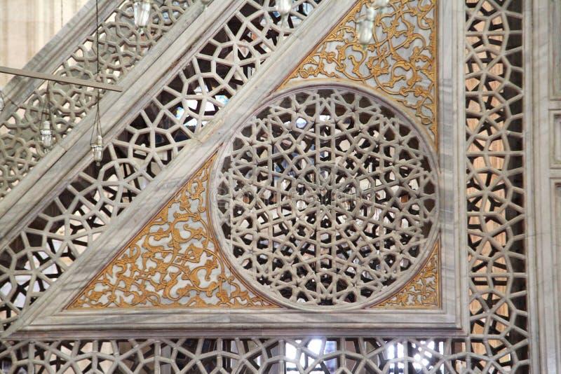 塞利米耶清真寺Minbar的看法  爱迪尔内,土耳其 免版税图库摄影