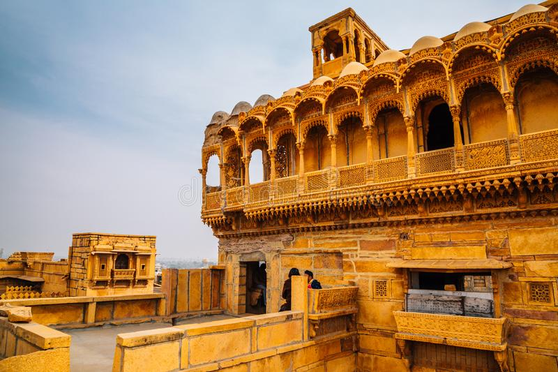 塞勒姆辛哈ki Haveli,在贾沙梅尔,印度的历史建筑学 免版税库存照片