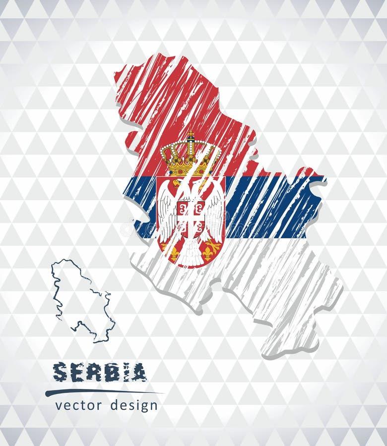 塞尔维亚与在白色背景隔绝的旗子里面的传染媒介地图 剪影白垩手拉的例证 向量例证