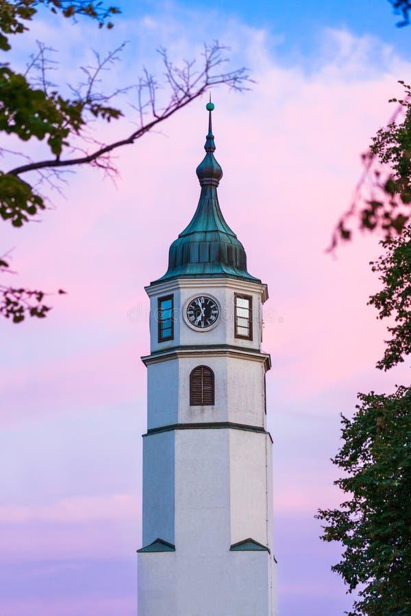 塞尔维亚卡莱梅格丹堡钟楼 免版税库存照片