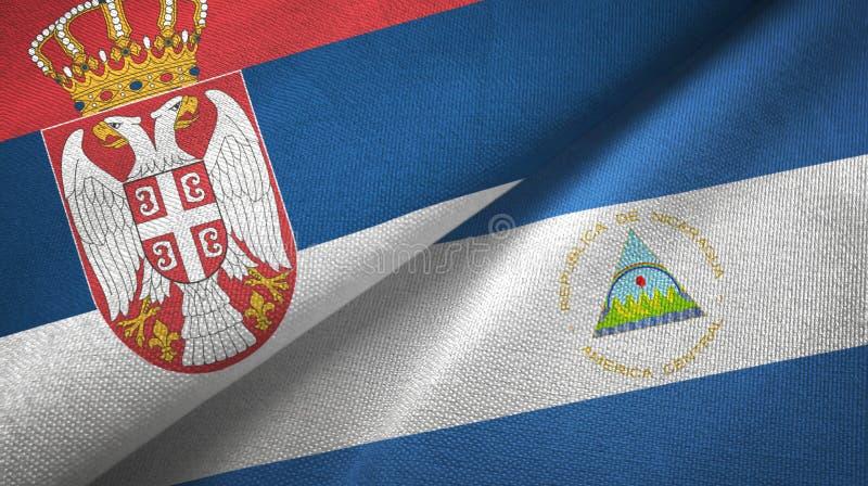 塞尔维亚和尼加拉瓜两旗子纺织品布料,织品纹理 库存例证
