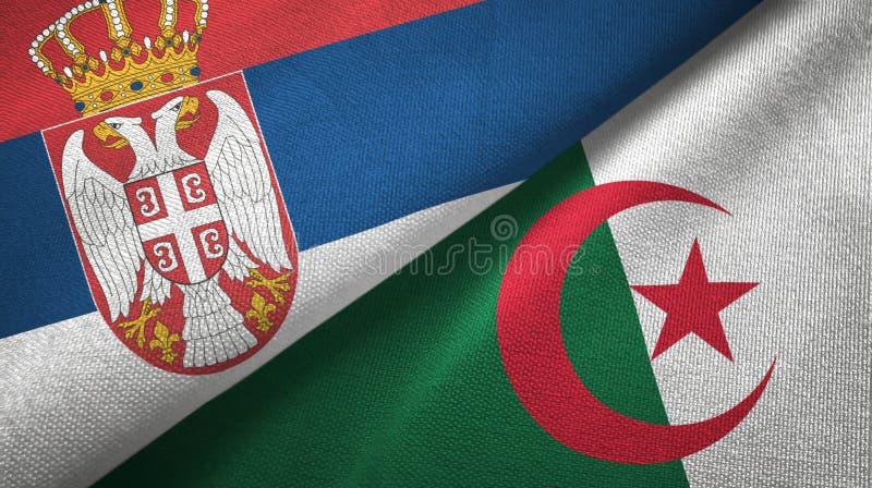 塞尔维亚和阿尔及利亚两旗子纺织品布料,织品纹理 皇族释放例证