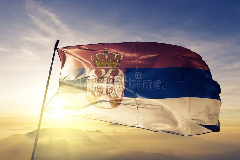塞尔维亚国旗纺织品挥动在上面的布料织品 皇族释放例证