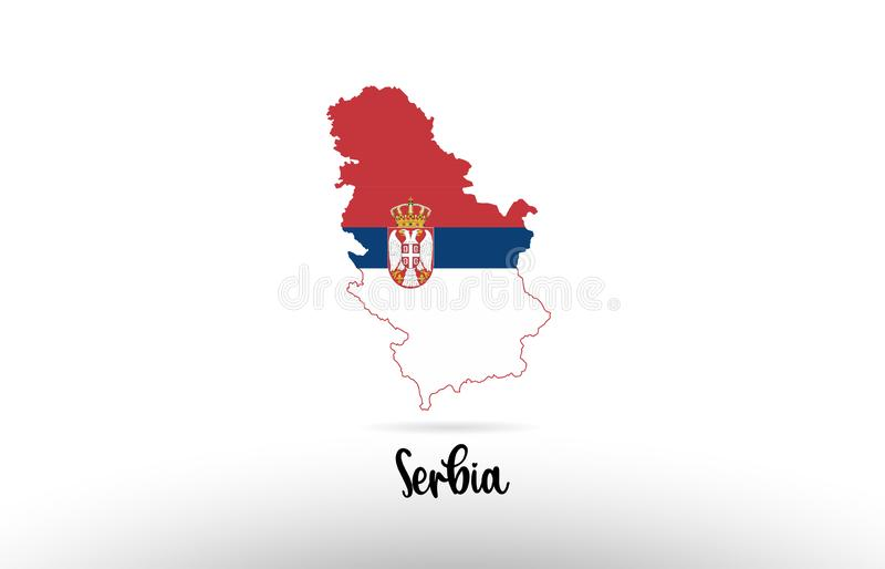 塞尔维亚在地图等高设计象商标里面的国旗 皇族释放例证