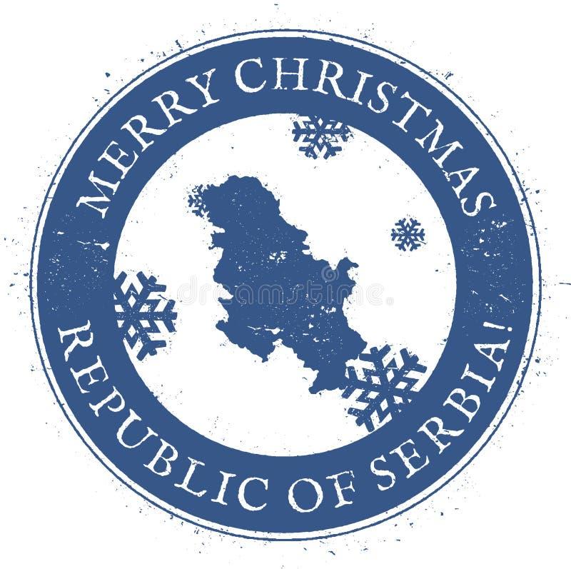 塞尔维亚地图 葡萄酒圣诞快乐塞尔维亚邮票 皇族释放例证