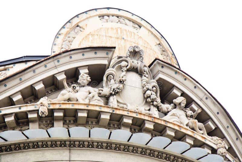 塞尔维亚学院大厦细节科学的和艺术,在贝尔格莱德市中心,是塞尔维亚脱离的一个好例子 库存照片