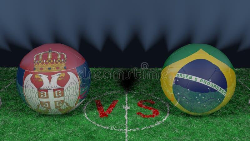 塞尔维亚对巴西 2018年世界杯足球赛 原始的3D图象 库存例证