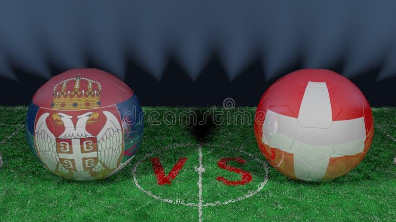 塞尔维亚对瑞士 2018年世界杯足球赛 原始的3D图象 皇族释放例证