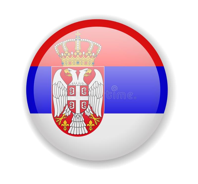 塞尔维亚旗子 在白色背景的圆的明亮的象 皇族释放例证