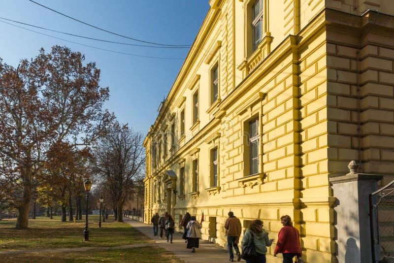 塞尔维亚正统神学院大厦在Srijemski钾镇  免版税库存照片