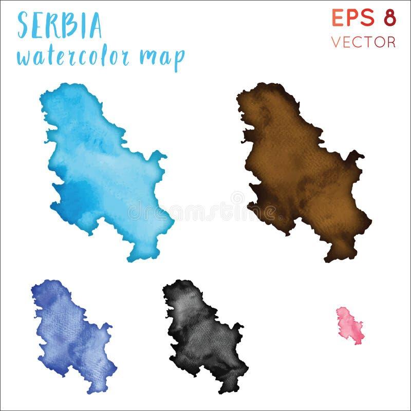 塞尔维亚水彩国家地图 向量例证