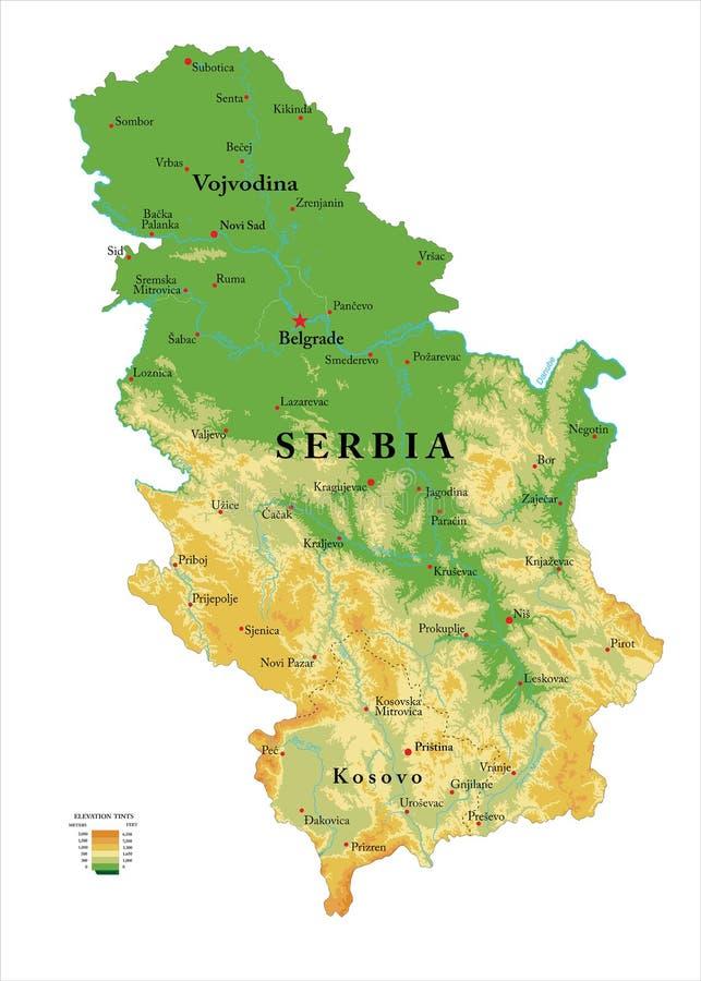 塞尔维亚物理地图 向量例证