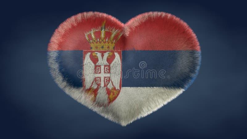 塞尔维亚的旗子的心脏 向量例证