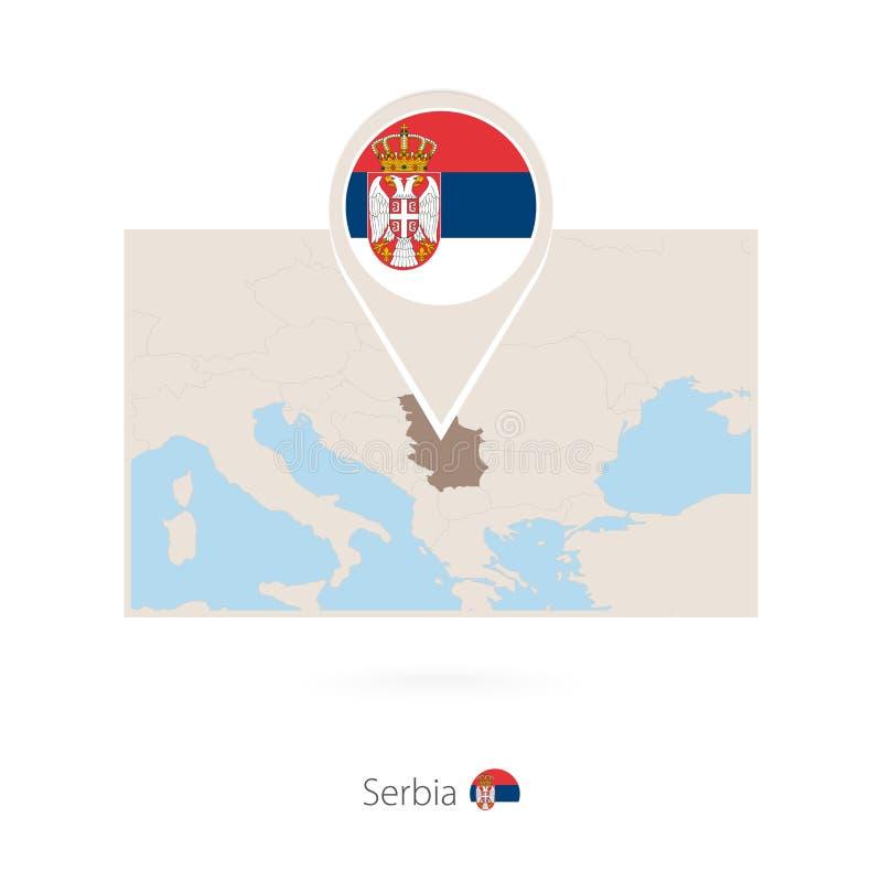 塞尔维亚的长方形地图有塞尔维亚的别针象的 库存例证