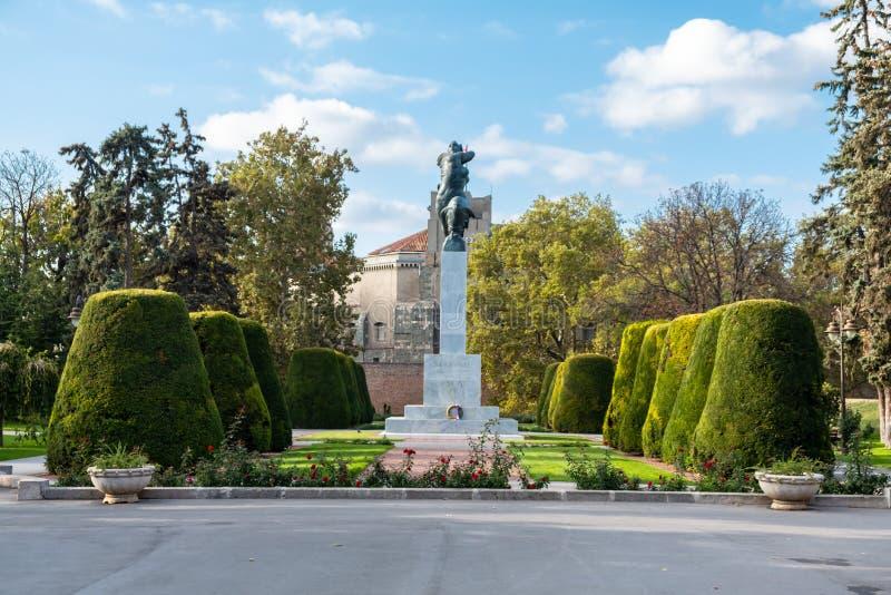 塞尔维亚贝尔格莱德卡莱梅格丹公园感恩纪念碑 免版税库存照片