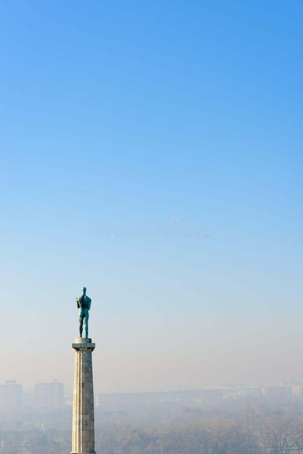 塞尔维亚贝尔格莱德卡莱梅格丹维克托纪念碑 免版税库存图片