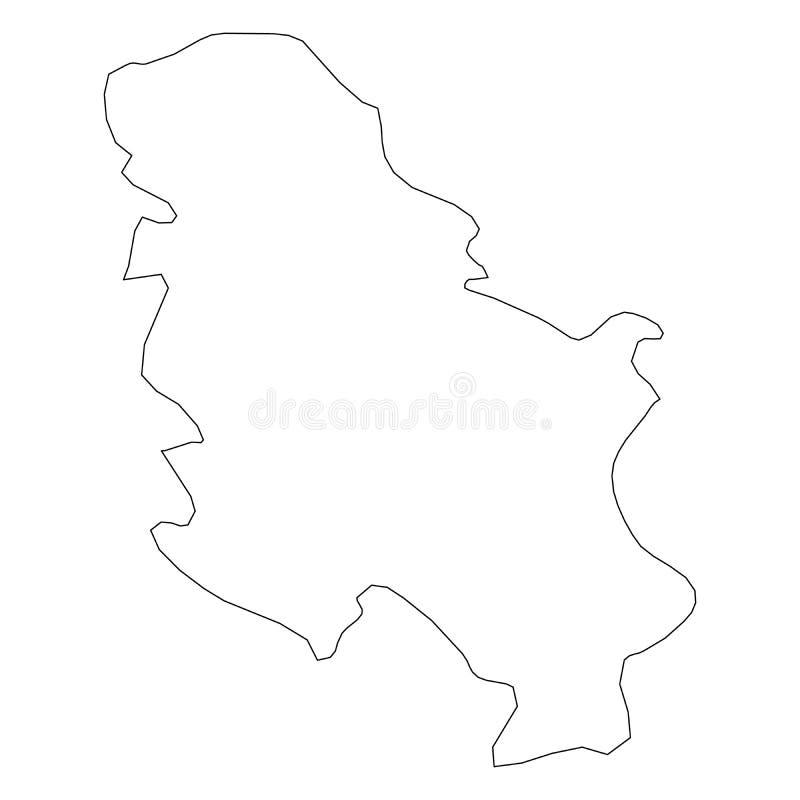塞尔维亚-国家区域坚实黑概述边界地图  简单的平的传染媒介例证 皇族释放例证