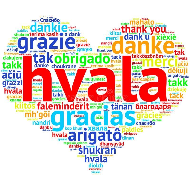 塞尔维亚人,克罗地亚人Hvala -心形的词云彩感谢,在whi 向量例证
